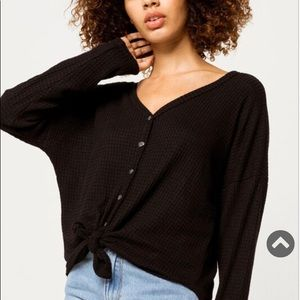 Button Tie Front Black Thermal Top